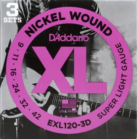 Electric EXL120-3D Nickel Wound Super Light 3 Pack 9-42