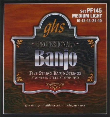 Banjo Stainless Steel 5-String Medium Light Set PF145