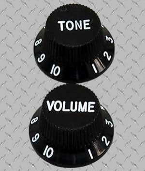 Tophat Style Strat Knob Set in Black P180
