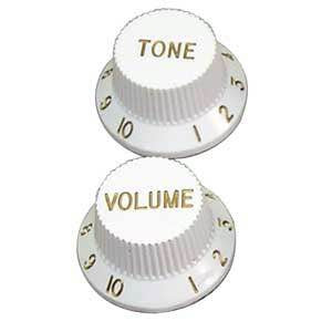 Tophat Style Strat Knob Set in White P185
