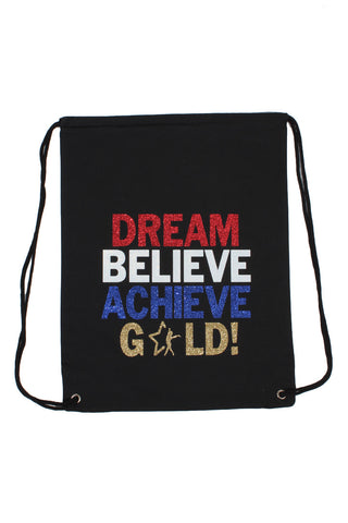 Dream Believe Achieve Gold Drawstring Backpack
