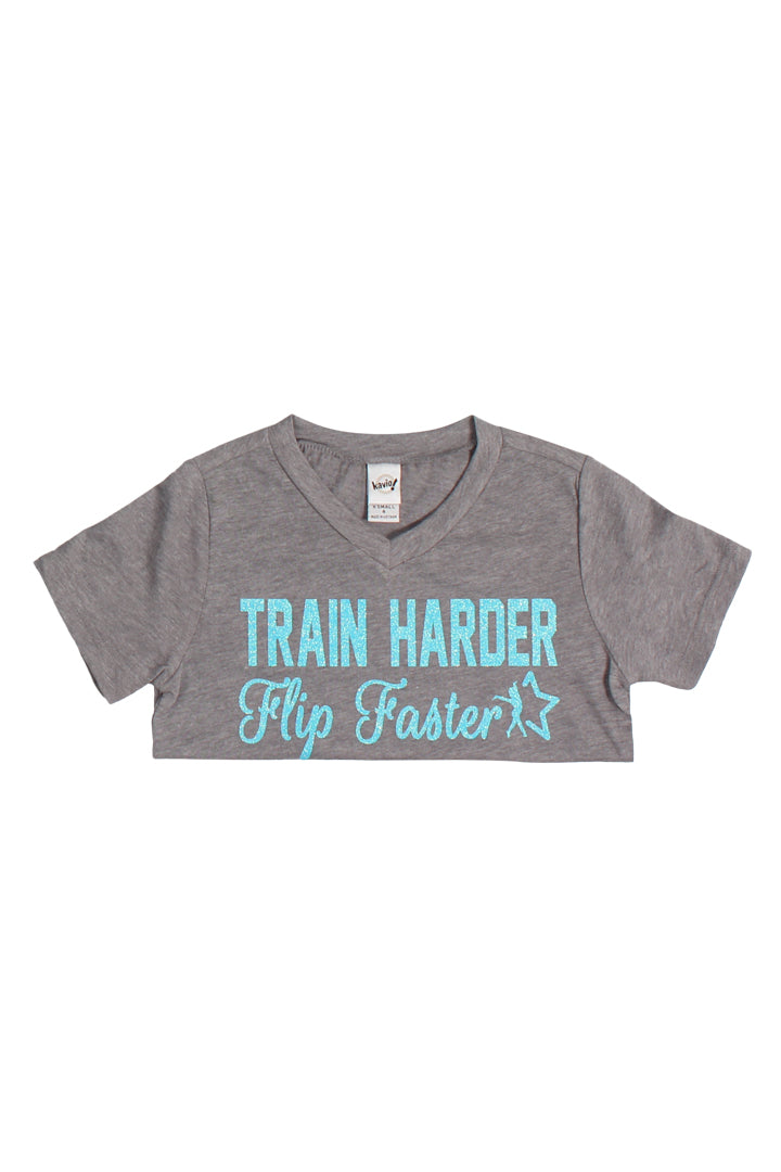 Gray Train Harder Flip Faster V-Neck T-Shirt - Aqua Glitter