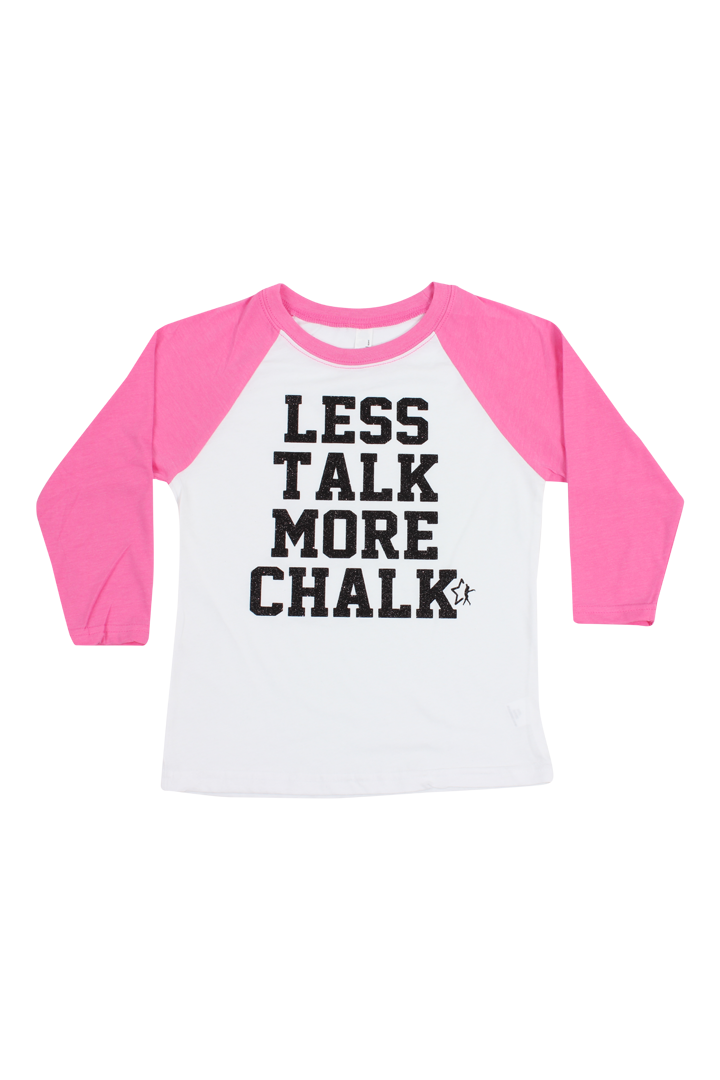 Less Talk More Chalk Baseball Tee - Hot Pink and Black
