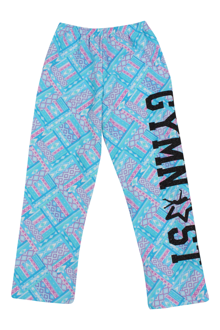 Gymnast Flannel Pants - Blue Aztec