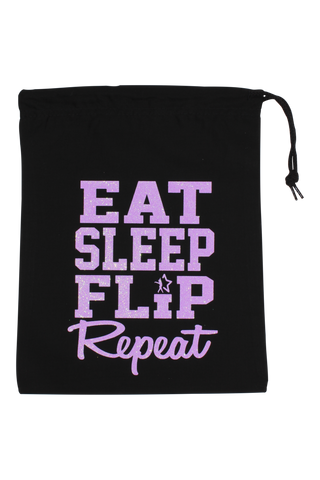 Eat Sleep Flip Repeat Grip Bag - Light Purple Glitter