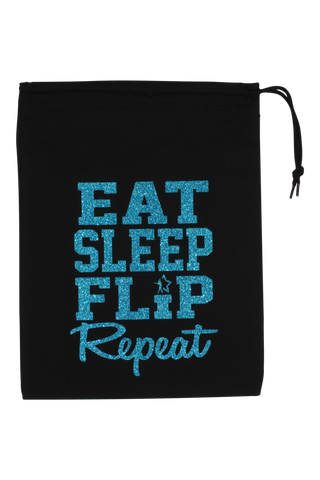 Eat Sleep Flip Repeat Grip Bag - Turquoise Glitter