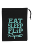 Eat Sleep Flip Repeat Grip Bag - Jade Glitter