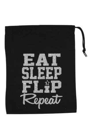 Eat Sleep Flip Repeat Grip Bag - Silver Glitter