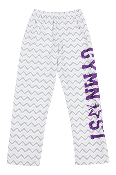 Gymnast Flannel Pants Gray Chevron - Purple Glitter
