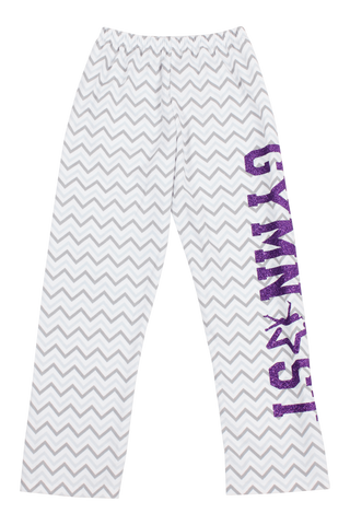 Gymnast Flannel Pants - Gray Chevron