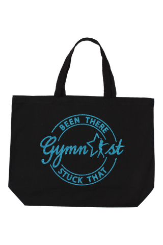 Been There Stuck That Gymnast Tote Bag - Turquoise Glitter
