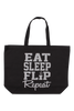 Eat Sleep Flip Repeat Tote Bag - Silver Glitter