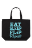 Eat Sleep Flip Repeat Tote Bag - Aqua Glitter