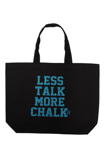 Less Talk More Chalk Tote Bag - Turquoise Glitter