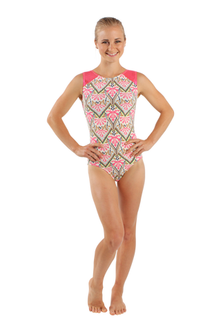 Coral Cross Stitch Tank Leotard