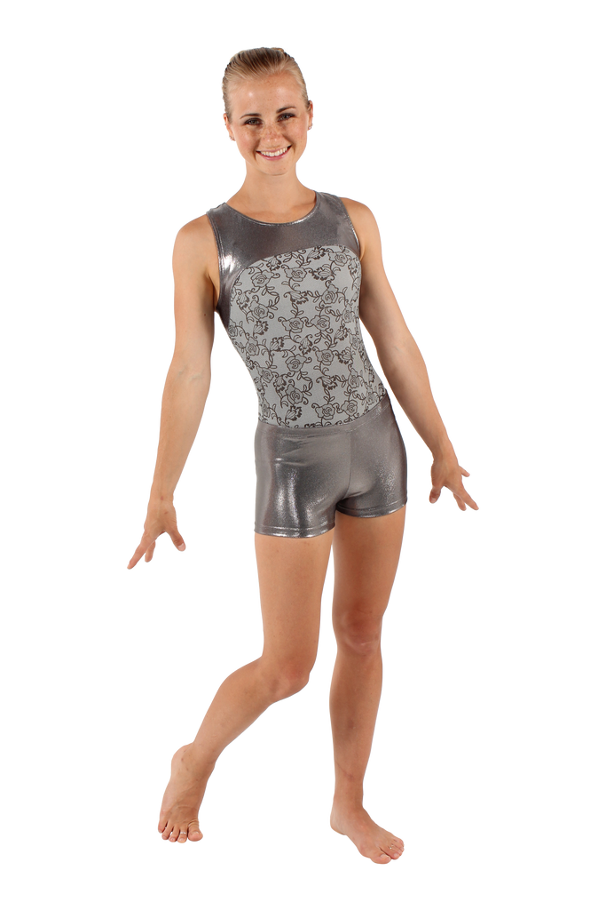 Gray Lace Racerback Tank Leotard