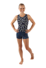 Navy Carnations Racerback Tank Leotard