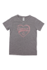 Gray Heart Gymnast V-Neck T-Shirt - Rose Gold Glitter