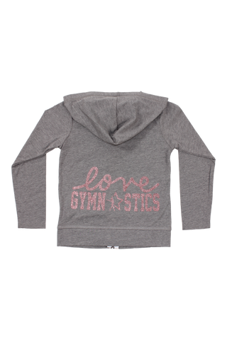 Gray Love Gymnastics Zip Up Jersey Hoodie - Rose Gold Glitter