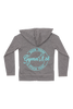 Been There Stuck That Gymnast Zip Up Jersey Hoodie - Gray and Aqua
