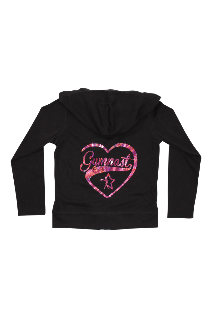 Gymnast Heart Black Zip Up Jersey Hoodie - Hologram Pink
