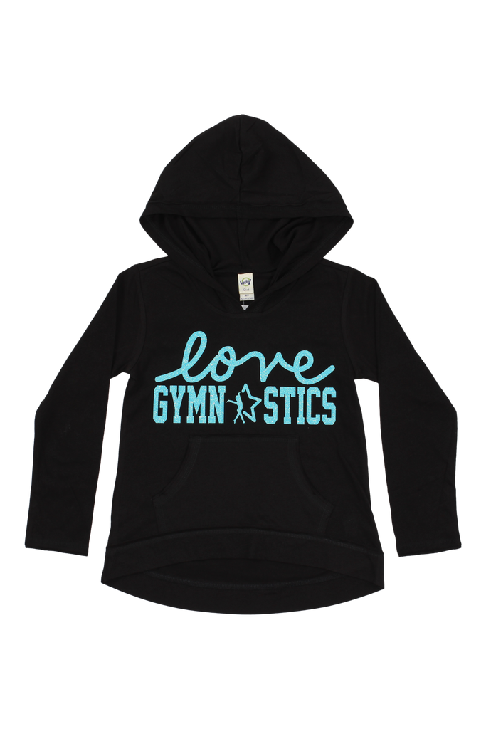 Love Gymnastics High Low Hoodie - Black and Aqua