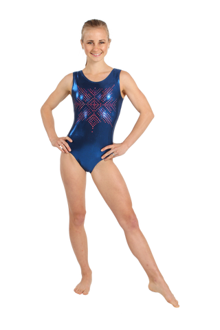 Tribal Crest Tank Leotard - Navy