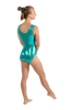 Diagonal Flourish Tank Leotard - Teal