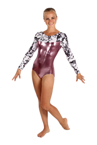 Onyx Roses Long Sleeve Leotard