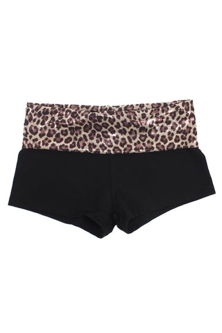 Panther Fold Over Yoga Shorts