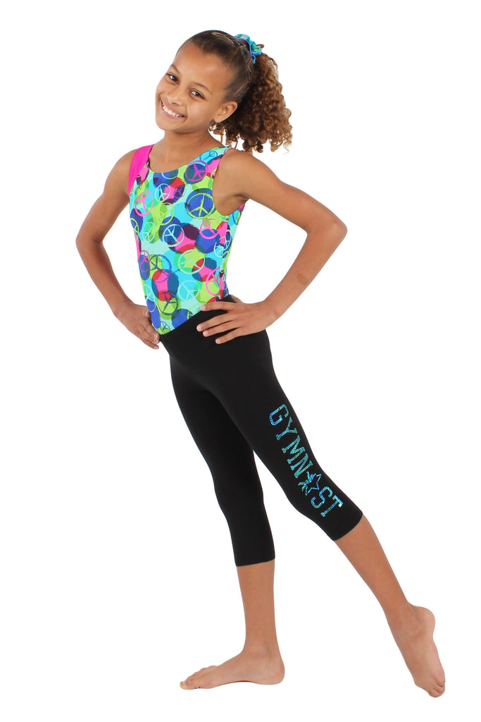 Sparkle Gymnast Black Cotton Capri Legging