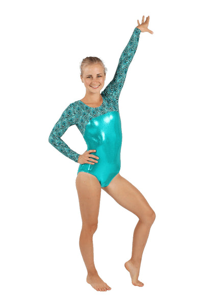 Teal Peacock Long Sleeve Leotard