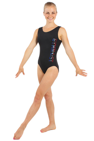 USA Sparkle Gymnast Nylon Tank Leotard