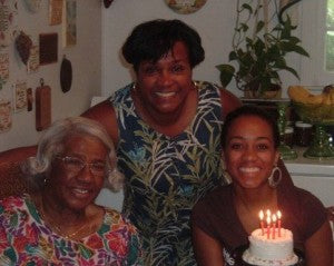 Me, my mom, and my grandmother celebrating my 24th birthday.