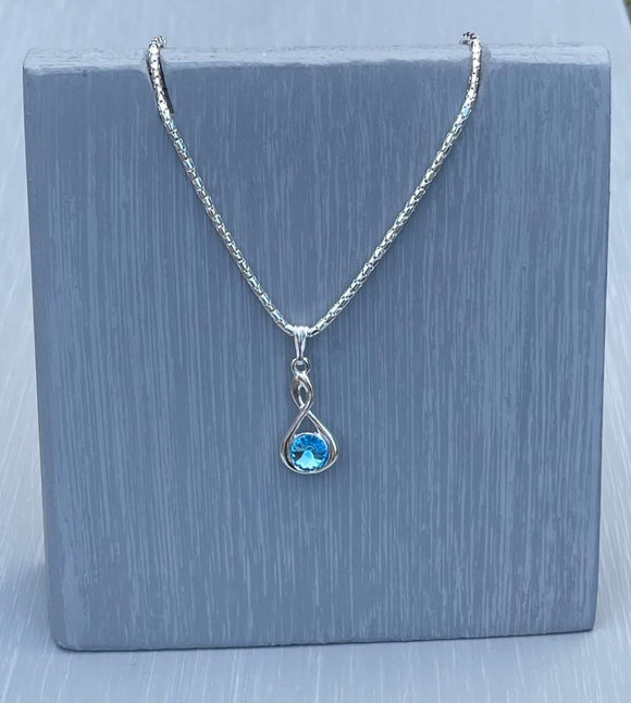 Aquamarine Swarovski Crystal Infinity Necklace