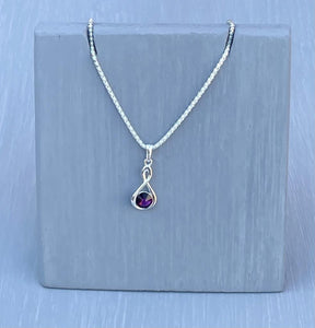 Amethyst Crystal Infinity Necklace – Wedding Accessories – February Birthstone Gifts