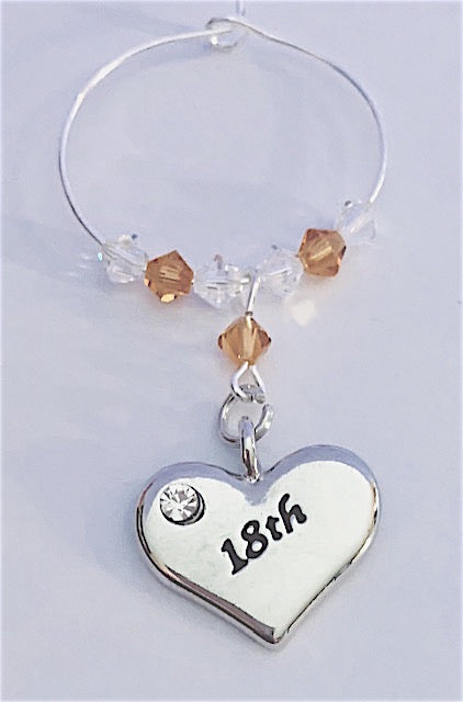 18th Heart Wine Glass Charm -Topaz - November Birthstone - Birthday Gifts - Swarovski