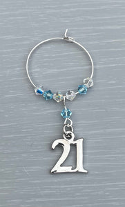 Handmade 21st Wine Glass Charm finished with silver plated 21st charm and Aquamarine and Clear AB Swarovski Crystals Lovely gift for her for her special birthday - Aquamarine is March Birthstone