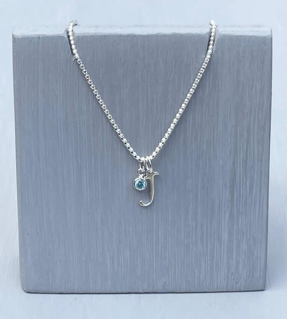 Initial and birthstone stirling silver necklace - Letter A with Aquamarine - March birthstone - 18 inch chain - other letters and birthstone's available for this stunning birthstone Jewellery