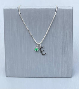 Initial and birthstone stirling silver necklace - Letter E with Emerald - May  birthstone - 18 inch chain - other letters and birthstone's available for this stunning birthstone Jewellery