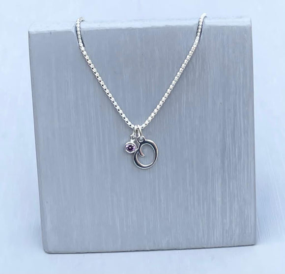 Initial and birthstone stirling silver necklace - Letter O with Amethyst - February  birthstone - 18 inch chain - other letters and birthstone's available for this stunning birthstone Jewellery