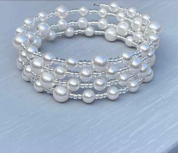 Memory Wire Swarovski Pearl Bracelet - June Birthstone - Wedding Accessories - Bridesmaids -  Christmas Gifts