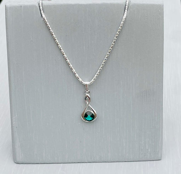 Swarovski Emerald Infinity Necklace – Wedding Accessories – May Birthstone