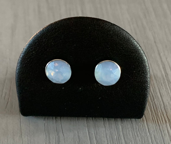 Air Blue Opal sterling silver stud earrings – October birthstone – Wedding accessories