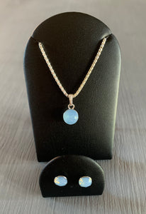 Air Blue Opal Swarovski Crystal Necklace & Earring Set - October Birthstone - Wedding Accessories