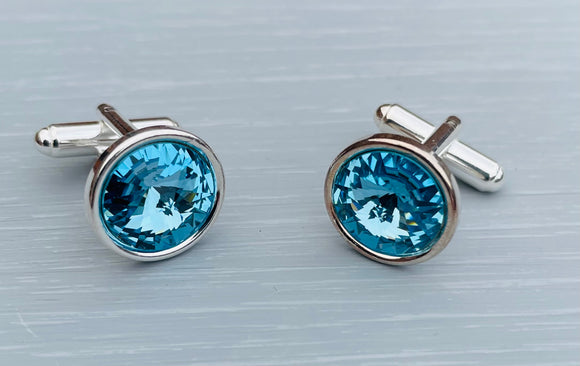 Handmade Sterling Silver Cufflinks handmade with Aquamarine Swarovski Crystals - Perfect Gift for Him, great for Father's Day, Wedding Accessories, Valentine's and Birthday gifts  - Aquamarine is the birthstone Colour for March - Crystals are the gift for 15th Wedding Anniversary