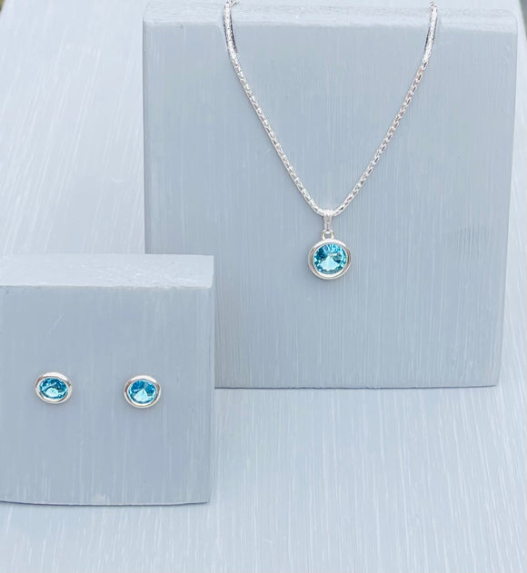 Aquamarine  Swarovski Crystal Jewellery Set – March Birthstone Gifts - Mother's Day - Wedding Accessories