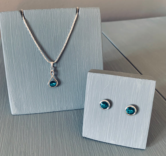 Blue Zircon Infinity Necklace & Earring Set - December Birthstone - Mother's Day Gift Ideas