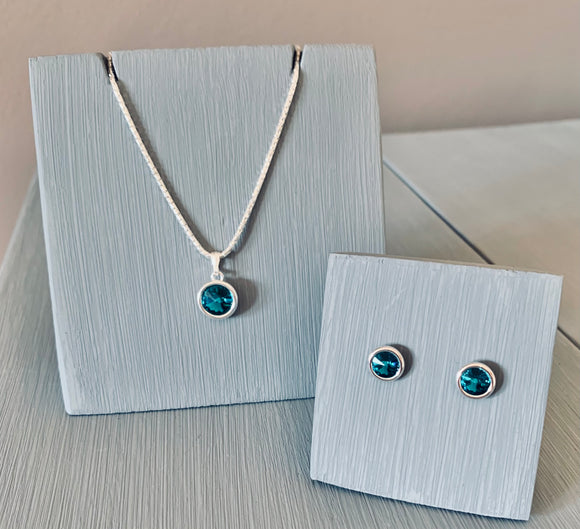 Swarovski Blue Zircon Pendant Necklace & Earring Set - December Birthstone - Mother's Day Gift Ideas