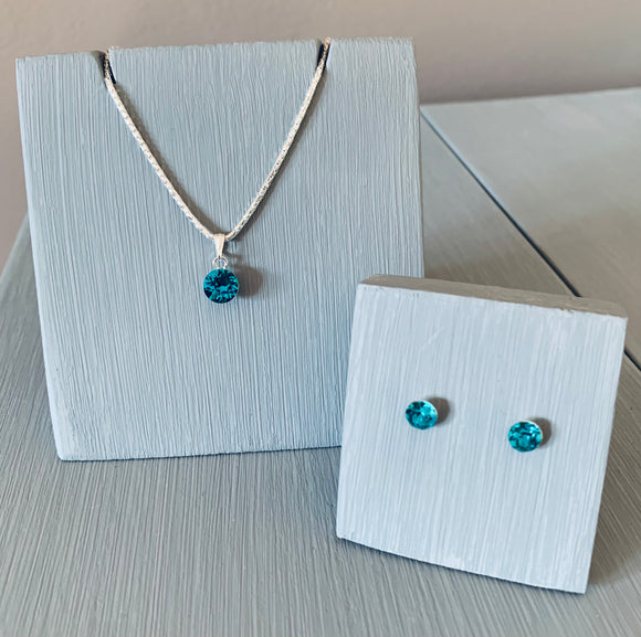 Blue Zircon Pendant Necklace & Earring Set - December Birthstone - Mother's Day Gift Ideas